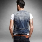 KUEGOU Miesten Slim Fit Denim Jacket Bleach Wash Vest - Sininen (XXL)