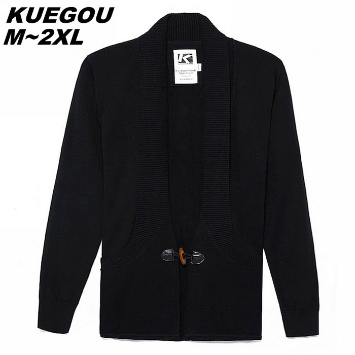 KUEGO Men's Black Cardigan With Cotton Detail On Button - Black (M)
