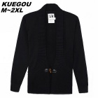 KUEGO Men's Black Cardigan With Cotton Detail On Button