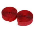 Bike Bicycle Water-Resistant Soft TPR Anti-Slip Handlebar Tapes Wraps Set w/ Bar Plugs - Red