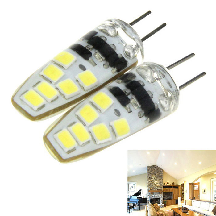 G4 6W LED Light Bulb Cold White 6000K 600lm 12-SMD 2835 (DC 12V/ 2PCS)G4<br>Form  ColorWhite + Translucent WhiteColor BINCold WhiteMaterialSiliconeQuantity2 DX.PCM.Model.AttributeModel.UnitPower6WRated VoltageOthers,DC 12 DX.PCM.Model.AttributeModel.UnitConnector TypeG4Chip BrandHugaEmitter TypeOthers,SMD 2835 LEDTotal Emitters12Theoretical Lumens800 DX.PCM.Model.AttributeModel.UnitActual Lumens600 DX.PCM.Model.AttributeModel.UnitColor Temperature6000KDimmableNoBeam Angle360 DX.PCM.Model.AttributeModel.UnitCertificationCE, RoHSPacking List2 x LED bulbs<br>