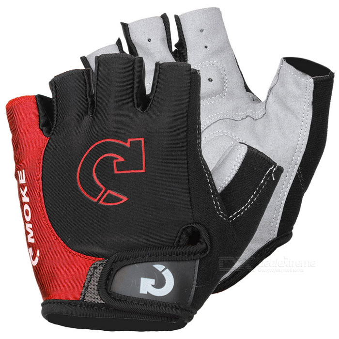 MOke Outdoor Cycling Riding Bike Motorcycle Anti-Slip Half-Finger Gloves - Black + Red (XL / Pair)