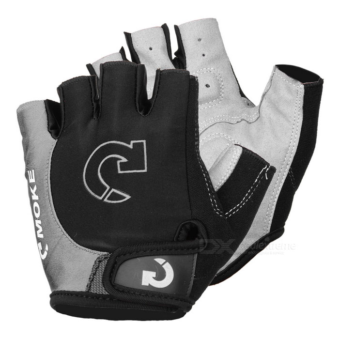 MOke Bike Motorcycle Anti-Slip Half-Finger Gloves - Black + Grey (L)