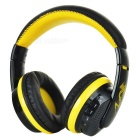 VYKON Bluetooth Headphone Voice Headset w/ Microphone - Black + Yellow