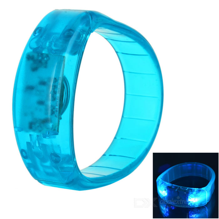 CTSmart Voice Control Blue Light LED Cycling Safety Wristband - Blue