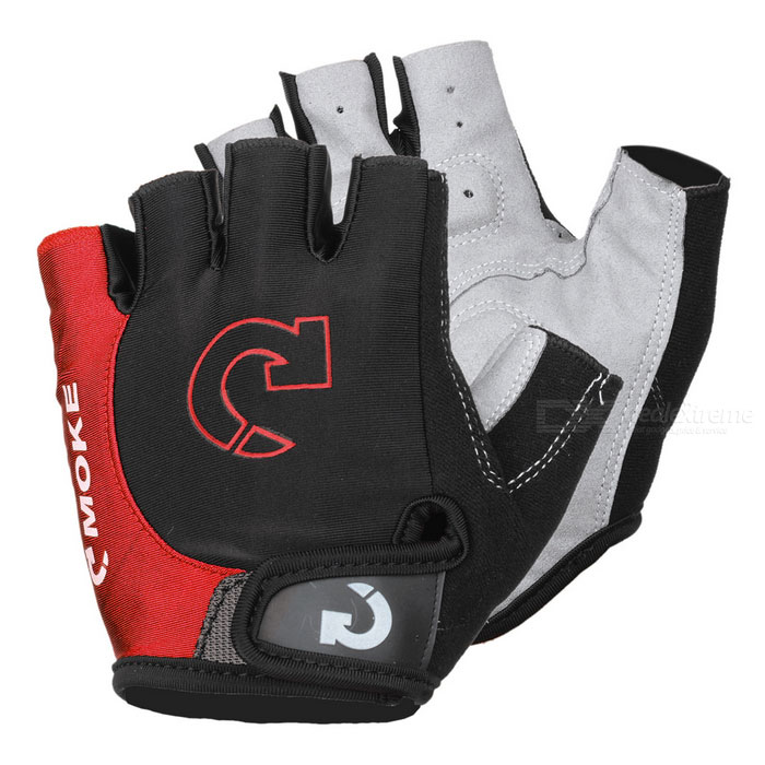 MOke Outdoor Cycling Riding Bike Motorcycle Anti-Slip Half-Finger Gloves - Black + Red (M / Pair)