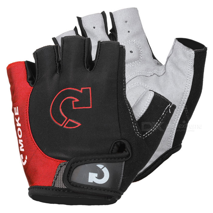 MOke Outdoor Cycling Riding Bike Motorcycle Anti-Slip Half-Finger Gloves - Black + Red (L / Pair)