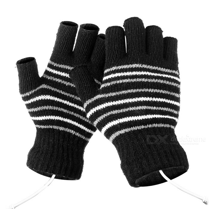 USB Heated Hand Warmer Wool Fingerless Gloves - Black + White (Pair)