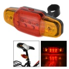 7-Mode 5-LED Yellow + Red Light Bike Warning Light - Black + Red + Multicolor (2 x AA)