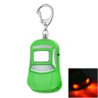 Car Shape Anti-Lost Key Finder Alarm Locator Whistle Keychain w/ Red Light LEDs - Green + Silver