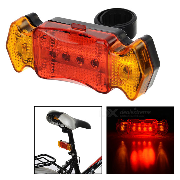 7-Mode 6-LED Red + Yellow Light Bike Taillight - Black + Red (2*AAA)