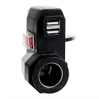 Motorcycle Dual USB + Cigarette Lighter Port Waterproof Charger -Black