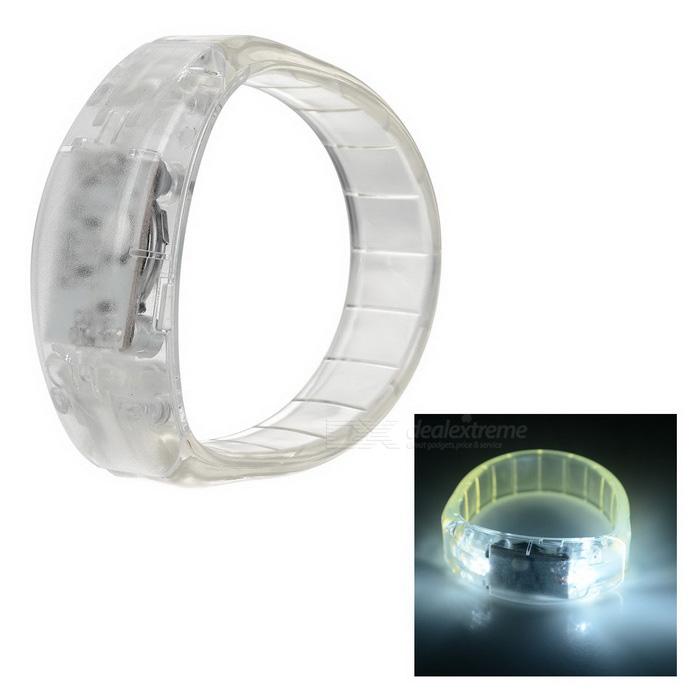 CTSmart Voice Control White Light LED Cycling Safety Wristband - White