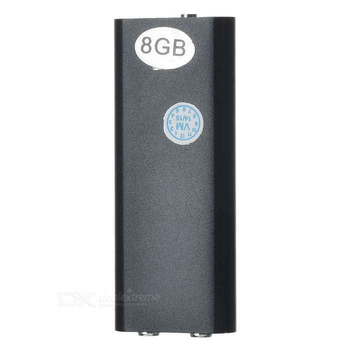 Mini Digital Aluminum Alloy Voice Recorder w/ 8GB Memory - Black