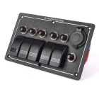 Marine Boat Waterproof 5-Group Aluminum LED Rocker Switch Panel w/ Power Cigarette Lighter Socket