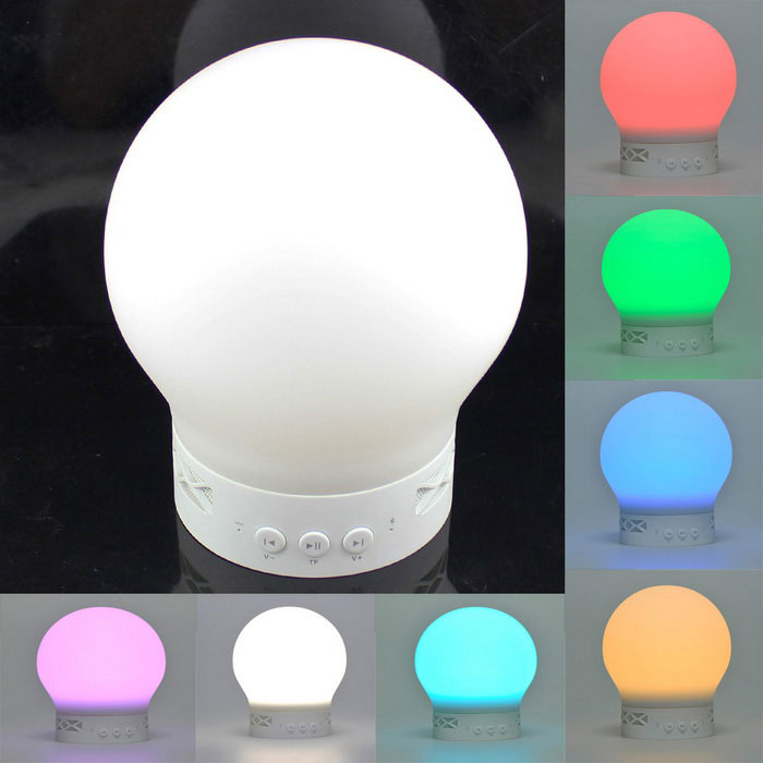 LED 1.2W Vibration Sensor Smart Bluetooth Speaker Colorful Transformation - White(DC5V/1000mAh)