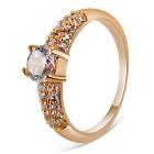 Xinguang Women's Simple Shiny Crystal Ring - Rose Gold (US Size 7)
