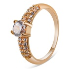 Xinguang Women's Simple Shiny Crystal Ring - Rose Gold (US Size 6)
