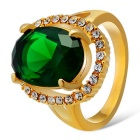Xinguang Women's Aestheticism Green Crystal Inlaid Finger Ring - Gold (US Size 7)