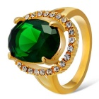 Xinguang Women's Aestheticism Green Crystal Inlaid Finger Ring - Gold (US Size 6)