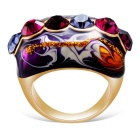 Xinguang Women's Diamond Oil Painting Crystal Ring - Golden (US 7)