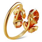 Xinguang Women's Water Drop Style Crystal Ring - Golden