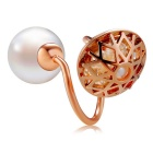 Xinguang Women's Hollow-out Pearl Style Open Finger Ring - Rose Gold