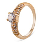 Xinguang Women's Simple Shiny Crystal Ring - Rose Gold (US Size 9)