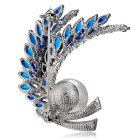 Xinguang Women's Beautiful Pearl Crystal Brooch - Silver + Blue