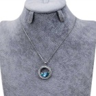 Xinguang Women's Unique Crystal Studded Pendant Necklace - Silver