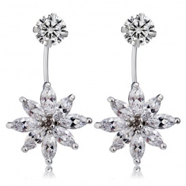 Xinguang Women's Lotus Style Crystal Inlaid Earrings - Silver