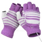 USB 2.0 Rechargeable Heated Winter Hand Warmer Wool Fingerless Gloves - Light Purple (Pair)