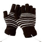USB 2.0 Rechargeable Heated Winter Hand Warmer Wool Fingerless Gloves - Dark Brown (Pair)