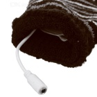 USB Heated Hand Warmer Wool Fingerless Gloves - Dark Brown (Pair)