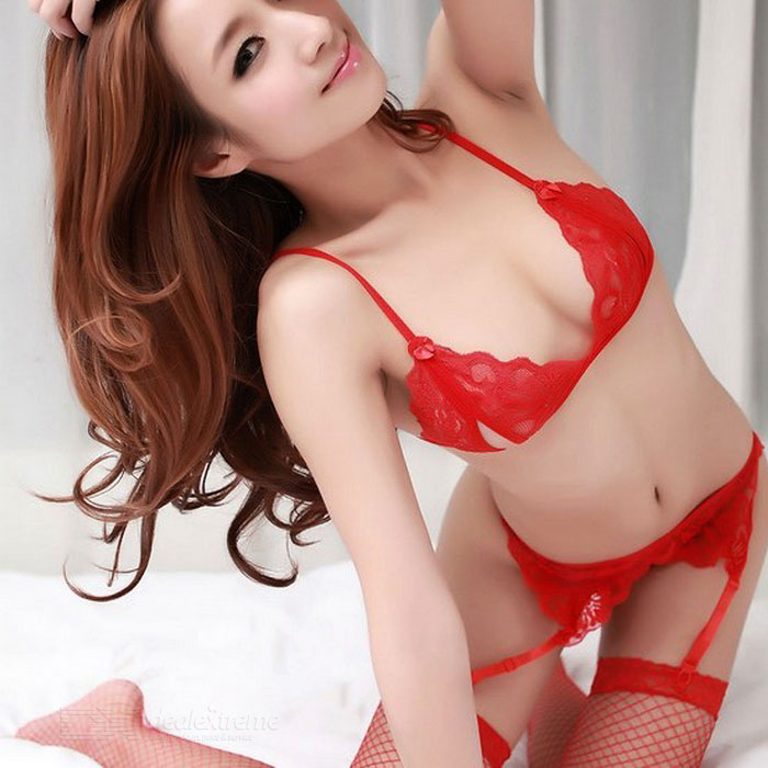 Sexy See-Through Open Breasts Bra + Open Crotch + Garter Set - Red