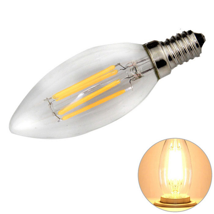 E14 4W 4-LED Filament Candle Bulb Lamp Warm White Light 3200K 360lm (AC 220~240V)