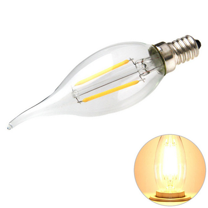 E14 2W 2-LED Filament Candle Bulb Lamp Warm White Light 3200K 180lm