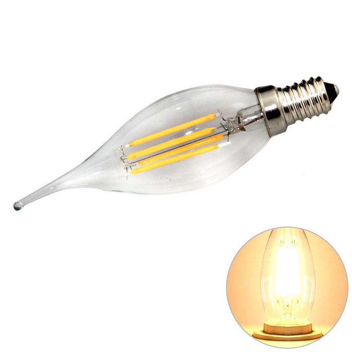 E14 4W 4-LED Filament Candle Bulb Lamp Warm White Light 3200K 360lmE14<br>Form  ColorSilver + BeigeColor BINWarm WhiteMaterialAluminum alloy + glassQuantity1 DX.PCM.Model.AttributeModel.UnitPower4WRated VoltageAC 220-240 DX.PCM.Model.AttributeModel.UnitConnector TypeE14Emitter TypeLEDTotal Emitters4Theoretical Lumens360 DX.PCM.Model.AttributeModel.UnitActual Lumens360 DX.PCM.Model.AttributeModel.UnitColor Temperature12000K,Others,2800~3200KDimmableNoBeam Angle360 DX.PCM.Model.AttributeModel.UnitOther FeaturesEnergy-savingPacking List1 x Bulb<br>