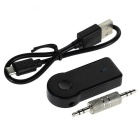 Wireless Car BT V3.0+EDR 3.5mm Hands-Free Audio Music Receiver - Black