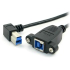 CY USB 3.0 Back Panel Mount B Type Female to Male Cable - Black (35cm)