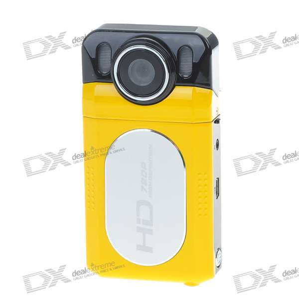 "DC-7200 2.0"" TFT LCD 5.0 MP CMOS Digital Camera Camcorder with 4X Digital Zoom/SD Card Slot - Yellow"