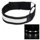 Outdoor Sports Cycling White Light Flashing 3-Mode 4-LED Safety Warning Strap Arm Band - White(2pcs)