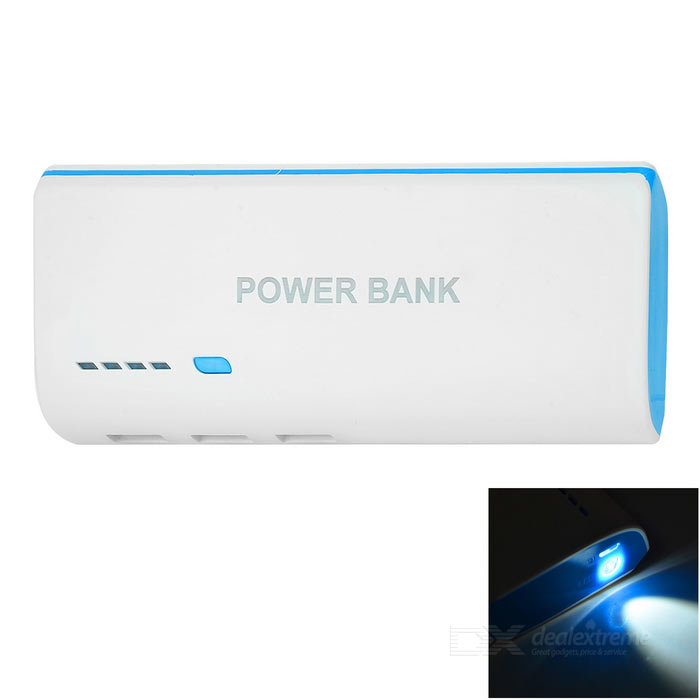 T5 5V 2.1A 3-USB 6000mAh Mobile PowerBank w / LED - Valkoinen + Sininen