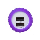 Car Cigarette Lighter 2.1A Dual USB Charger - Purple + White (12~24V)