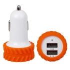 Car Cigarette Lighter 2.1A (Max) With Double USB Slot Power Adapter - Orange + White (12-24V)