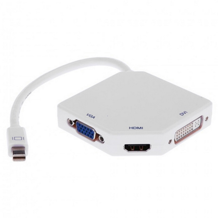 Mini DisplayPort to VGA / HDMI / DVI Convert Adapter - White