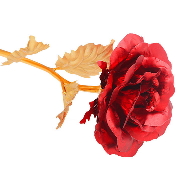 Valentine's Day Gift Dipped in 24K Gold Artificial Rose Flower - Red