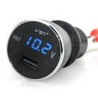 "VST 2-in-1 5V 2.1A Car USB Charger Adapter & 1.35"" Voltmeter Digital Display w/ Blue LED (12~24V)"