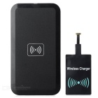 Ultra-Thin Qi Standard Wireless Charger Charging Pad + Micro USB Receiver Set for Samsung S6 - Black
