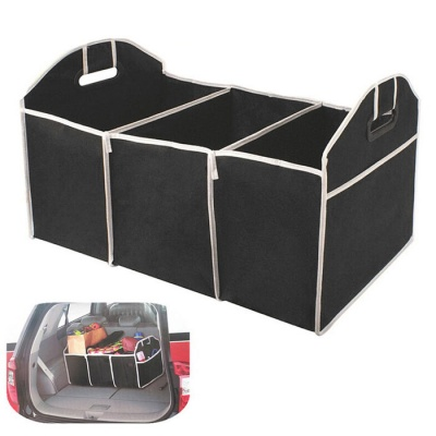 Multipurpose Trunk Pouch Car Storage Cubby Box Collapsible Bag - Black